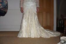 GORGEOUS VINTAGE CREAM SATIN & LACE UNWORN WEDDING DRESS SIZE 10/12