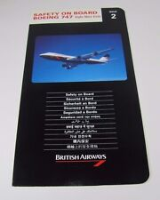 Original Vintage BRITISH AIRWAYS Safety on Board BOEING 747 Airline Card
