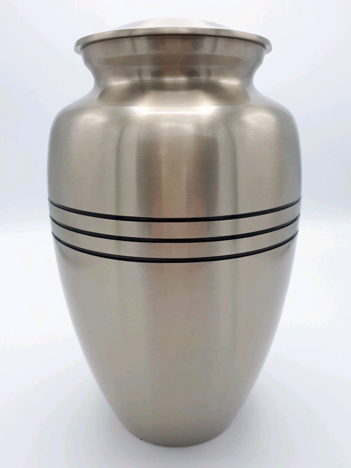 Brass adulte Crémation Urne & Pour Cendres-élégante étain & Urne Noir Tri-bande finition aa2af1