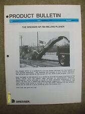 Rare 1987 Number P-1 Dresser SP-780 Milling Planer Product Bulletin
