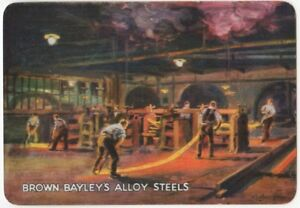 Playing-Cards-1-Single-Card-Old-Wide-BROWN-BAYLEYS-ALLOY-STEEL-Advertising-Art