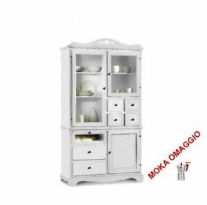Dettagli su CLASSICO dispensa Shabby Chic bianca mobile cucina sportelli e  cassetti 1242/A
