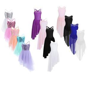 Girls-Ballet-Dance-Tutu-Dress-Kids-Gymnastics-Sequined-Leotard-Skirt-Dance-wear