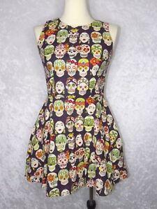 Hemet-Frida-Medium-Dress-Sugar-Skull-Dia-De-Los-Muertos-Rare-Hard-to-Find