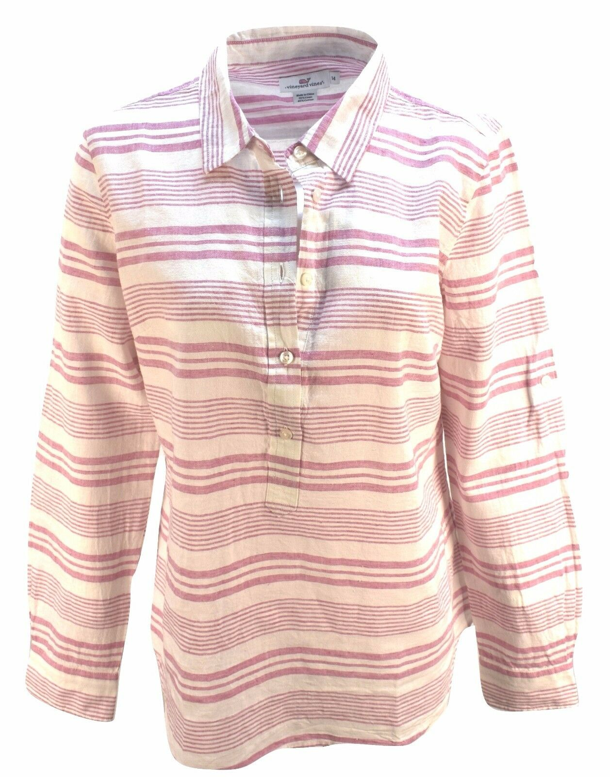 Vineyard Vines Woherren Bungalow Beach Cover up Shirt Stripe Rosa linen