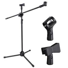 Microphone Stand Dual Mic Clip 90-degree Rotating Folding Type Boom Arm Tripod S