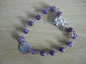 Silver-Plated-Copper-7-034-Rosary-Chain-Amethyst-February-039-s-Birthstone-Bracelet