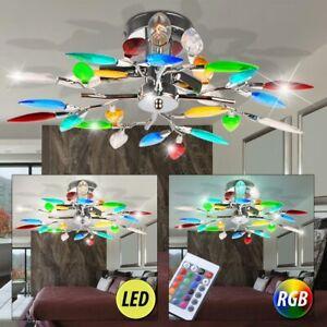 Chrom LED Deckenleuchte Blätter bunt Wohnzimmer RGB ...