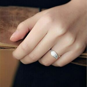 Damen-Ring-Echt-Sterl-Silber-925-Blatt-Stylisch-GRoessenverstellbar-Silberring