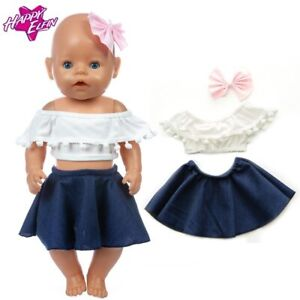 Baby Re-born Doll 17 Inch Doll Clothes New Denim Skirt Set Fit For 43cm