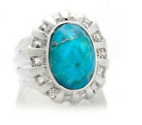 Hsn Sally C Treasures Oval Turquoise White Topaz Sterling Silver Ring 7