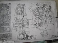 HARLEY DAVIDSON 61ci KNUCKLEHEAD Engine BLUEPRINT EL HD poster print motorcycle