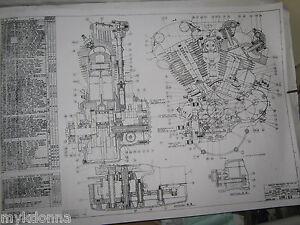 harley davidson 61ci knucklehead engine blueprint el hd poster print rh ebay com