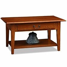 Leick Furniture Shaker Solid Wood Drawer Coffee Table Medium Oak Finish