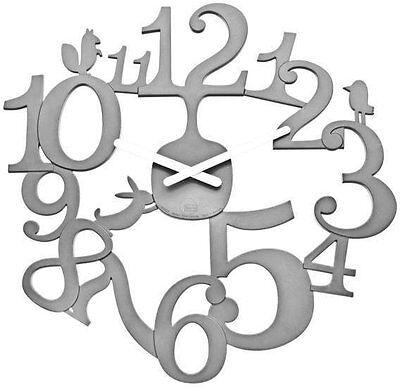 "Koziol PIP WALL CLOCK Modern Pi:P GREY 18"" 45cm Large"
