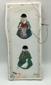 2-SIDED-Man-with-Goose-DEDE-Handpainted-PETIT-POINT-CANVAS-Partially-Worked