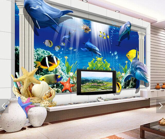 3D Dolphins Stones 74 Wall Paper Murals Wall Print Wall Wallpaper Mural AU Lemon