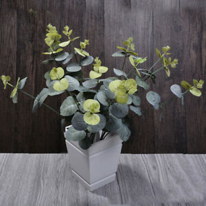 Green-Artificial-Fake-Plastic-Silk-Eucalyptus-Plant-Leaves-Indoor-Outdoor-Decor