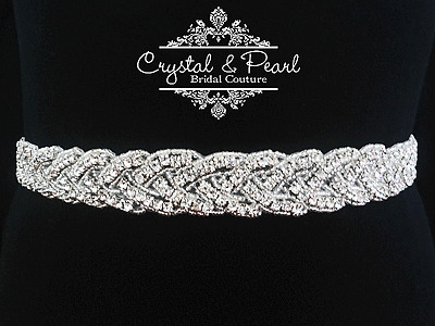 BOXED MARILYN BRIDAL SASH, Bridal Belt, Wedding Dress Sash, Vintage Rhinestone