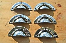 SET OF 6 ART DECO STYLE CHROME ON BRASS CUP FURNITURE HANDLE DRAWER PULL WH67