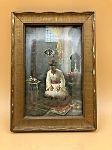 Antique-Leonardo-de-Mango-Oil-on-Board-Painting-034-At-Prayer-034-Signed-amp-Dated