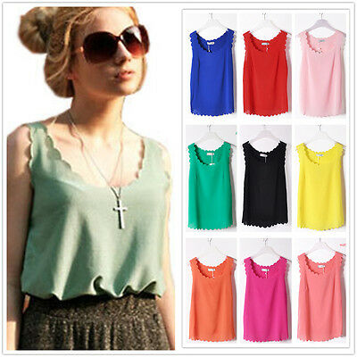 New Fashion Womens Chiffon Tops Tank Sleeveless T-Shirt Casual Blouse Vest S M L