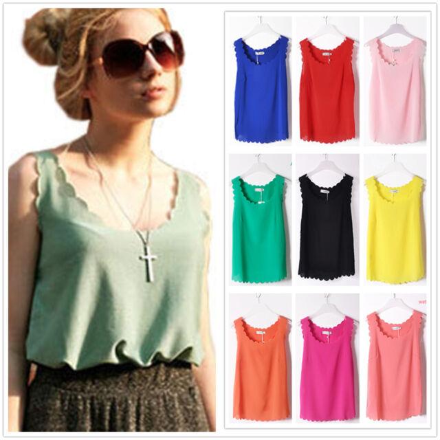 New Fashion Womens Chiffon Tops Tank Sleeveless T-Shirt Casual Blouse Vest S M L