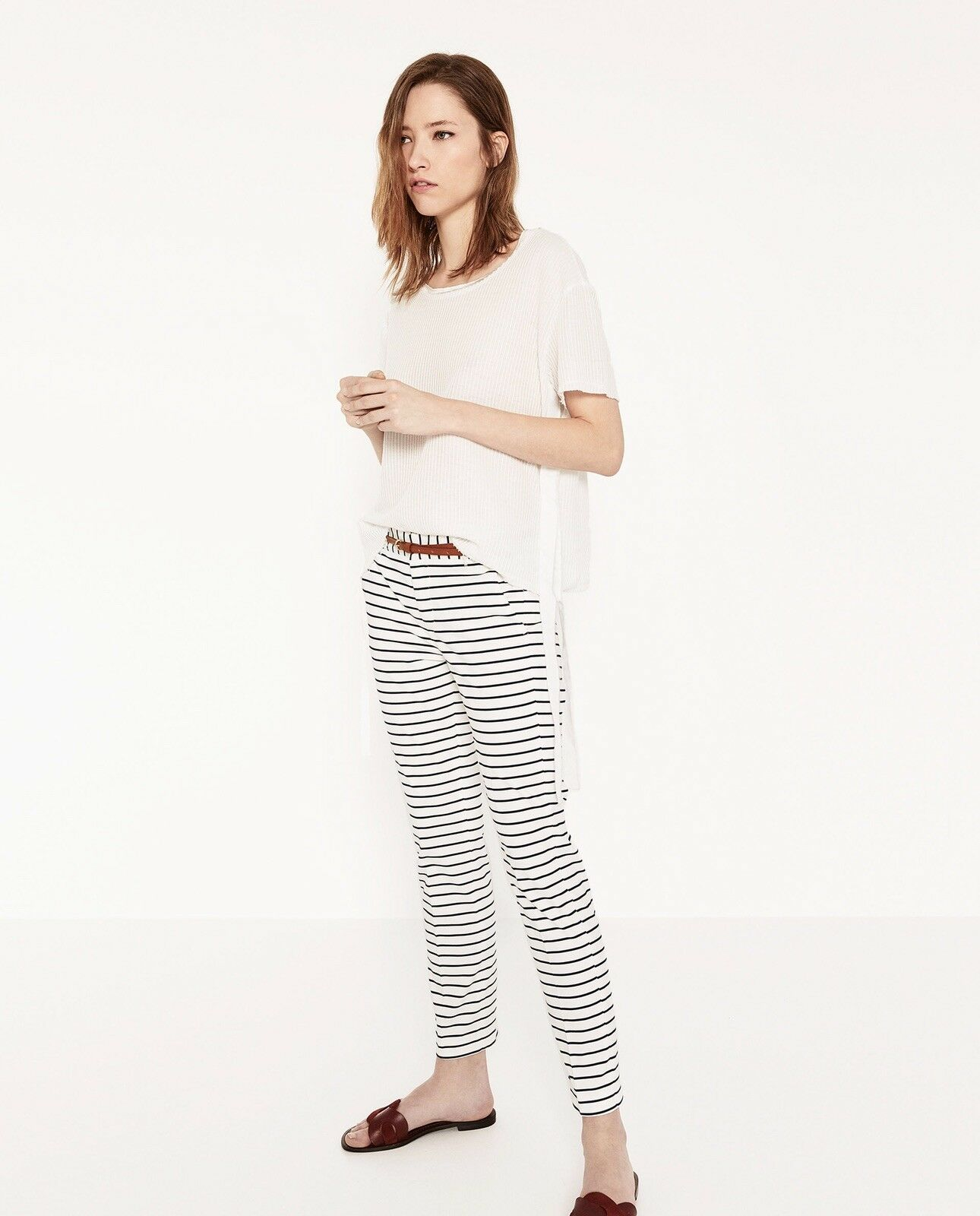 Zara Women Striped Trousers With Belt White Navy Size 2 NWT