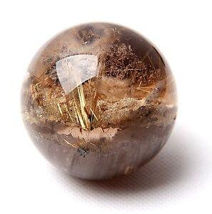 49mmNatural-clear-Titanium-Rutilated-Crystal-Ball-SPHERE-Phantom-Quartz-Specimen
