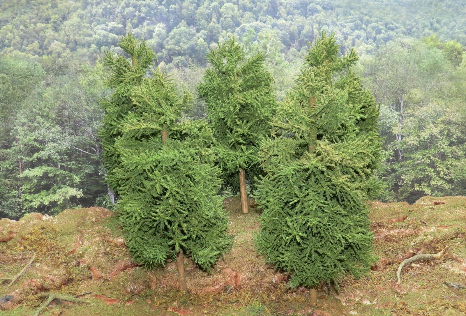 5 Realistic HO , ON30, and O Scale 12 inch Handmade Pine Trees for Train Diorama
