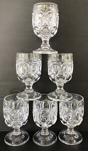 Vintage-L-E-Smith-Glass-Moon-and-Stars-Clear-Water-Goblets-5-3-4-Set-Of-6