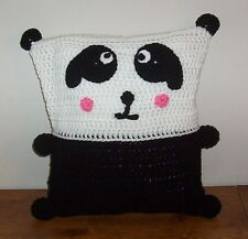 Crochet Animal Pillow Black & White Panda Baby Soft Bed Nursery Pillow 12x16