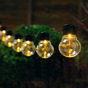 Glass String Lights Outdoor : LED String of GLASS BULB LIGHTS - SOLAR POWERED Set of 10 Outdoor Garden Lamp