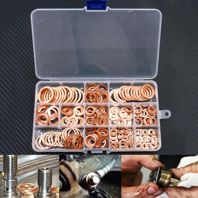 280pcs 12 Sizes Assorted Solid Crush Copper Washer Sump Plug Banjo Bolt Tap Box