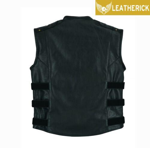 Mens Top Grain Gladiator Vest Motorcycle Club Style Black Real Leather Waistcoat