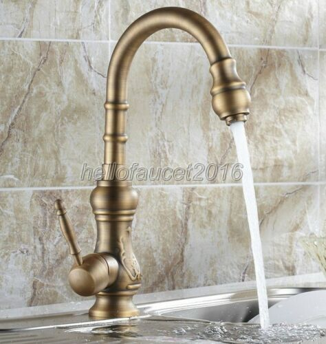 Antique Brass Single Hole Bathroom Sink Faucet One Handle Mixer Tap  lsf80