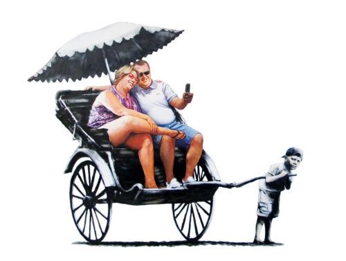 Banksy rickshaw child iron on t shirt transfer or sticker trolley