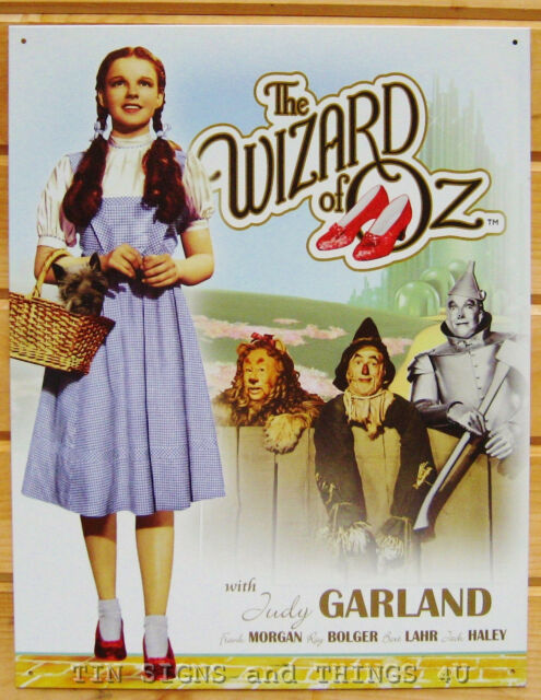 Dorothy Toto TIN SIGN Wizard of Oz cast metal ruby slipper poster vtg decor 1560