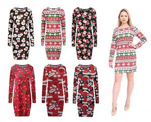 Womens-Ladies-Novelty-Fairisle-Reindeer-Christmas-Bodycon-Xmas-Midi-Maxi-Dress