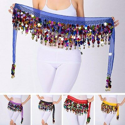 Newly Dance Hip Scarf Belly Dancing Rainbow Sequin Tassel Mesh Waist Wrap Skirts