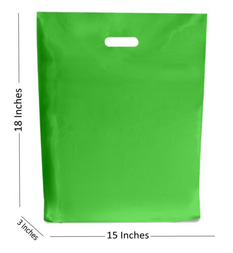 LARGE APPLE GREEN PLASTIC BAGS ~ BOUTIQUE GIFT SHOP CARRIER BAG 15x18x3 INCHES