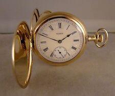 111 YEARS OLD ELGIN 14k GOLD FILLED HUNTER CASE FANCY DIAL 16s  POCKET WATCH