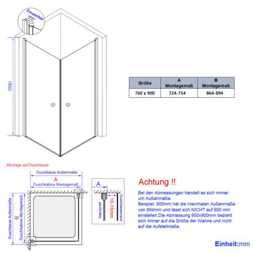 Duschkabine Glas 80x80 90x90 Duschtür Pendeltür Eckdusche Duschabtrennung NANO