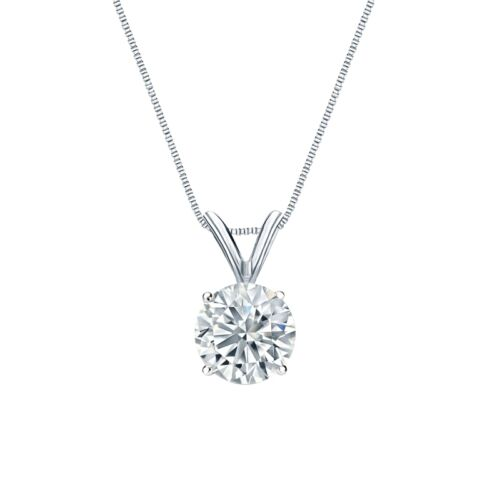 "2 Ct Rond Brillant Cut 14k solide or Blanc Solitaire Pendentif 18/"" Collier"