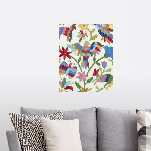 Otomi Embroidery II Poster Art Print Bird Home Decor