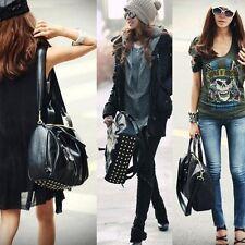 Women's Faux  leather Handbags Bottom Rivets Stud Bag Shoulder Bags Tote New