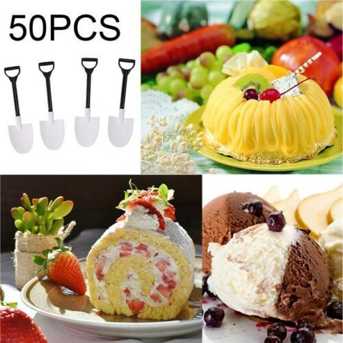 50pcs Cute Creative Shovel Plastic Spoon Ice Cream Cake Utensils Kitchen Party