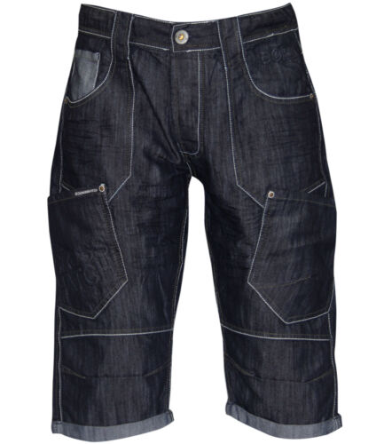 Crosshatch Uomo Denim Jean Shorts ala in rilievo 3//4 Cargo Tasche presentarsi Orlo