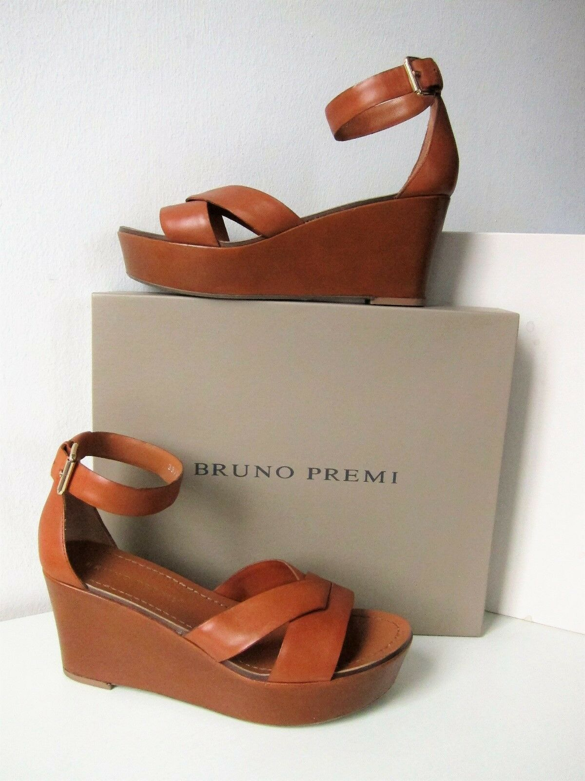 NUOVO Bruno Premi Sandalo Sandali Tg 39 Plateau Cognac Marronee Marronee sandals OVP