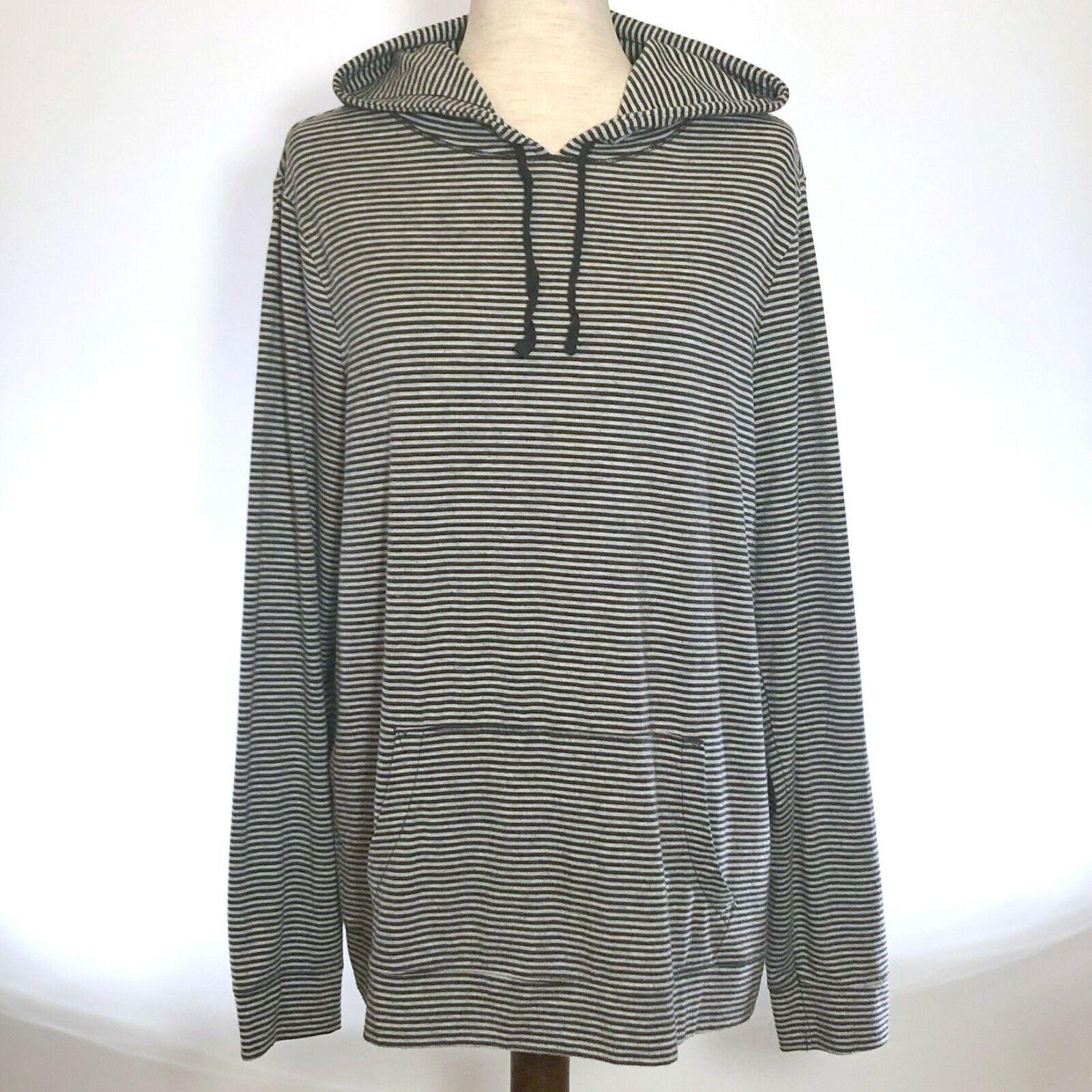 Old Navy Womens Hoodie Top Sz XL Pullover Navy White Stripe Kangaroo Pocket